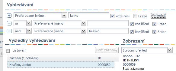 Okno pro vyhledávání - prázdné vyhledávací kritérium